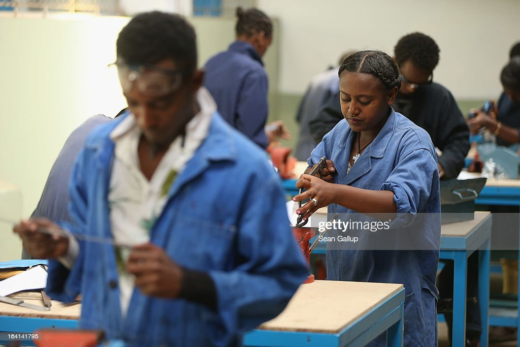 Trainees work on projects in the metal working class at the AA Tegbare-id Polytechnic College on March 20, 2013 in Addis Ababa, Ethiopia. The AA Tegbare-id Polytechnic College is supported by Germany's KFW Development Bank and the GEZ as well as the Italian government. Ethiopia, with an estimated 91 million inhabitants, is the second most populated country in Africa and the per capita income is $1,200.