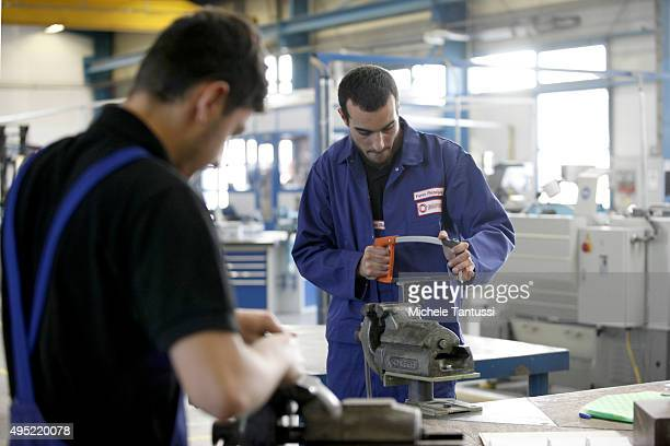 Trainees works in the Badische Stahlwerke training center during a visit of french and germans officials on October 31 2015 in Kehl Germany Badische...