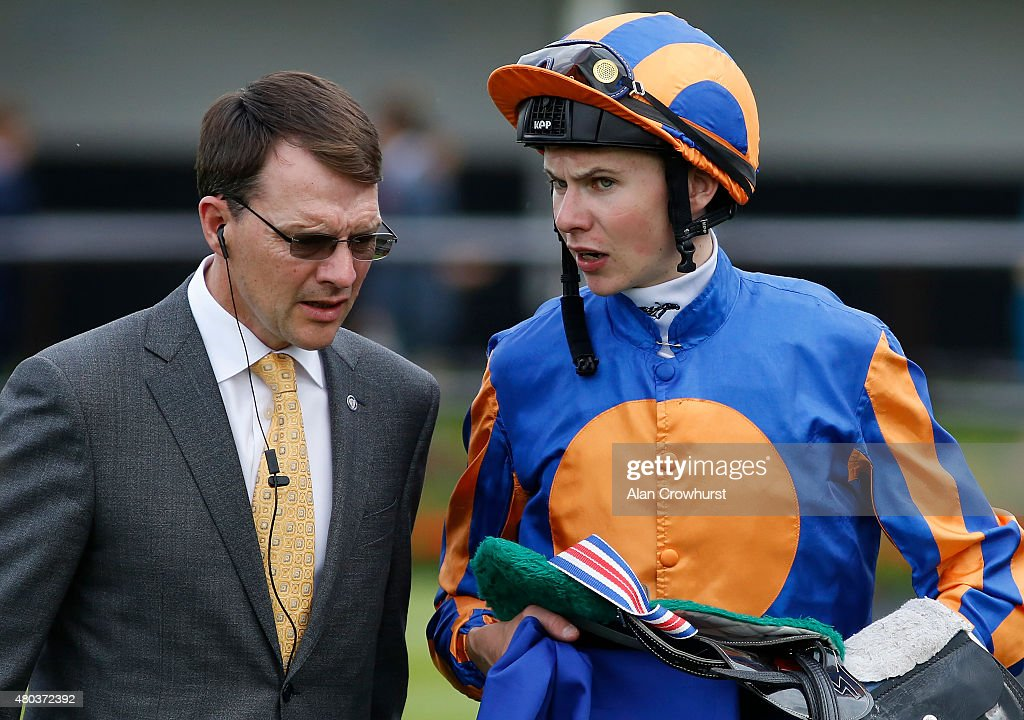 Trainer <a gi-track='captionPersonalityLinkClicked' href=/galleries/search?phrase=Aidan+O%27Brien&family=editorial&specificpeople=858471 ng-click='$event.stopPropagation()'>Aidan O'Brien</a> (L) talks with his son, jockey <a gi-track='captionPersonalityLinkClicked' href=/galleries/search?phrase=Joseph+O%27Brien+-+Jockey&family=editorial&specificpeople=12884576 ng-click='$event.stopPropagation()'>Joseph O'Brien</a> at Newmarket racecourse on July 11, 2015 in Newmarket, England.