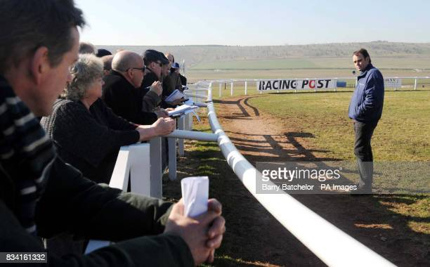 Trainer Alan King talks to Racing journalists at Barbury Castle Stables near Wroughton Wiltshire