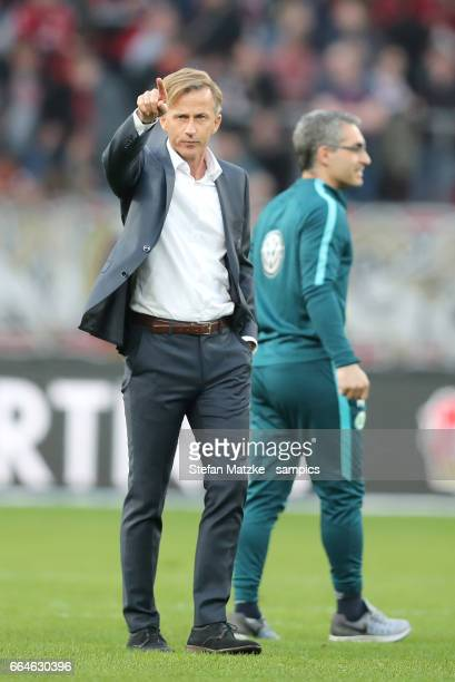 TRainer Andries Jonker VfL Wolfsburg during the Bundesliga match between Bayer 04 Leverkusen and VfL Wolfsburg at BayArena on April 2 2017 in...