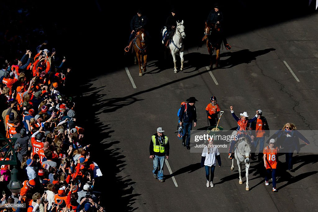 Trainer Ann Judge-Wegener rides Denver Broncos mascot Thunder during a victory parade to celebrate their Super Bowl championship on February 9, 2016 in Denver, Colorado. The Broncos defeated the Carolina Panthers 24-10 in Super Bowl 50.