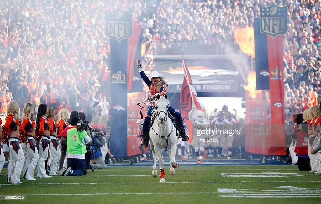 Trainer Ann Judge-Wegener rides Denver Broncos mascot Thunder on to the field before Super Bowl 50 against the Carolina Panthers at Levi's Stadium on February 7, 2016 in Santa Clara, California.