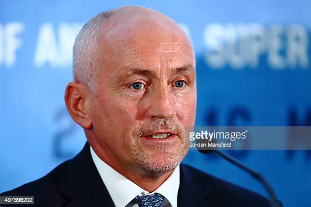 Trainer Barry McGuigan talks during the Carl Frampton and Scott Quigg Press Conference at the Park Plaza Riverbank on November 16 2015 in London...