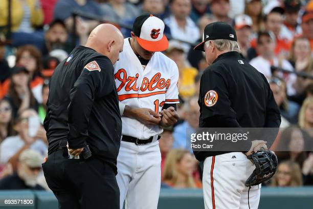 Trainer Brian Ebel and manager Buck Showlter of the Baltimore Orioles look at the hand of thrid baseman Manny Machado after a stolen base against the...