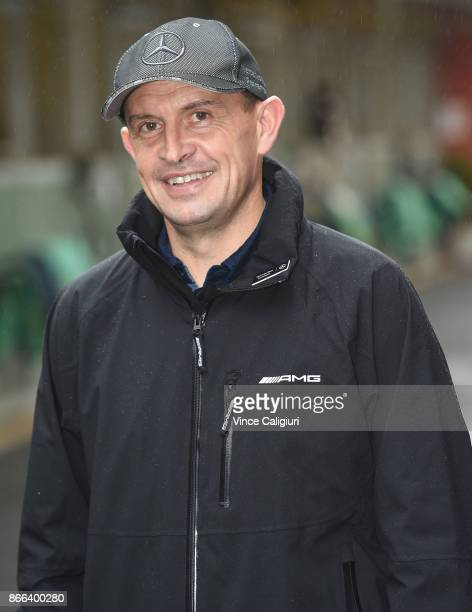 Trainer Chris Waller smiles after speaking to the media at Flemington Racecourse on October 26 2017 in Melbourne Australia