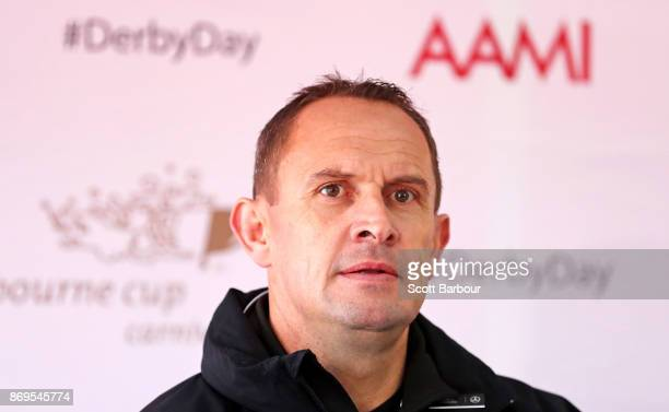 Trainer Chris Waller speaks during the AAMI Victoria Derby Day media conference at Flemington Racecourse on November 3 2017 in Melbourne Australia
