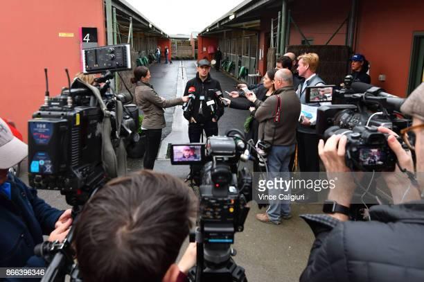 Trainer Chris Waller speaks to the media at Flemington Racecourse on October 26 2017 in Melbourne Australia