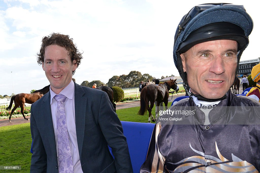 Trainer Ciaron Maher and Glen Boss after Mr O'ceirin won the D'urban Naturalism Stakes during Melbourne Racing at Caulfield Racecourse on September 21, 2013 in Melbourne, Australia.