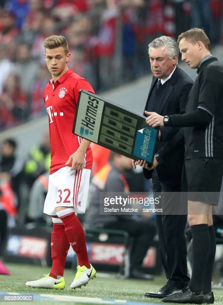 Trainer Coach Carlo Ancelotti FC Bayern München Munich Joshua Kimmich FC Bayern München during the Bundesliga match between Bayern Muenchen and...