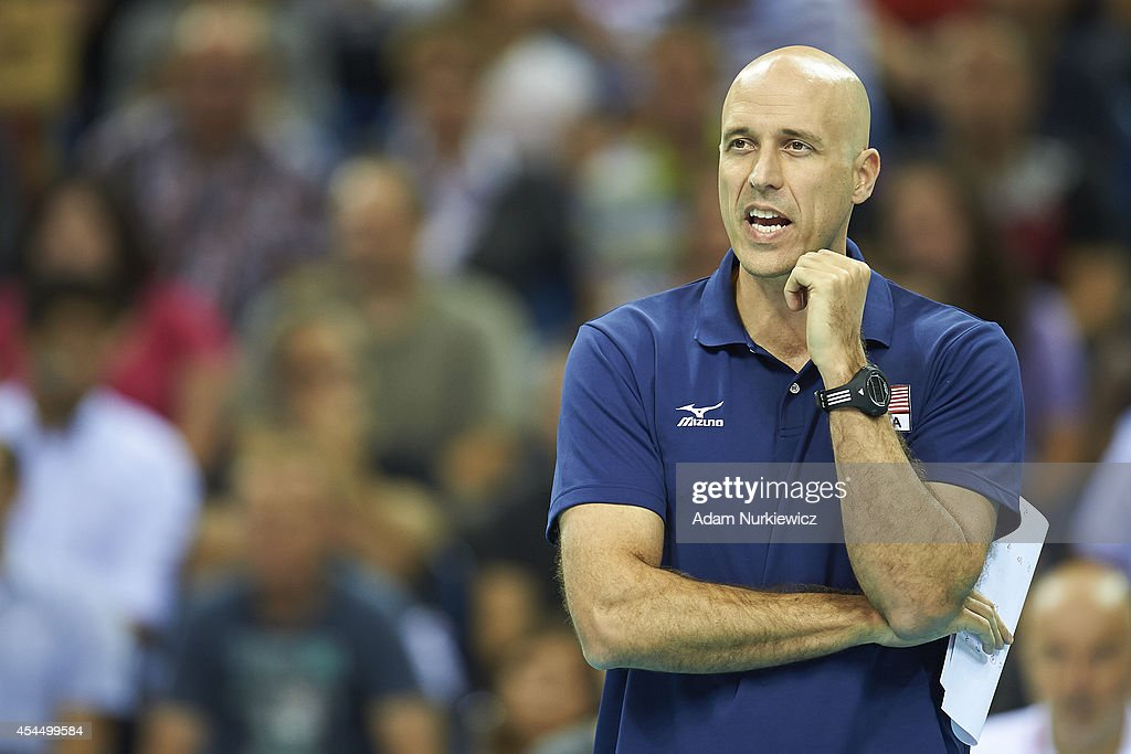 Trainer coach John Speraw of USA looks to the ball during the FIVB World Championships match between USA and Iran at Cracow Arena on September 2, 2014 in Cracow, Poland.