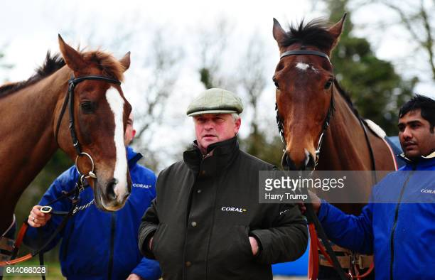 Trainer Colin Tizzard poses with Native River and Cue Card during a Colin Tizzard Stable Visit at Spurles Farm on February 23 2017 in Sherborne...
