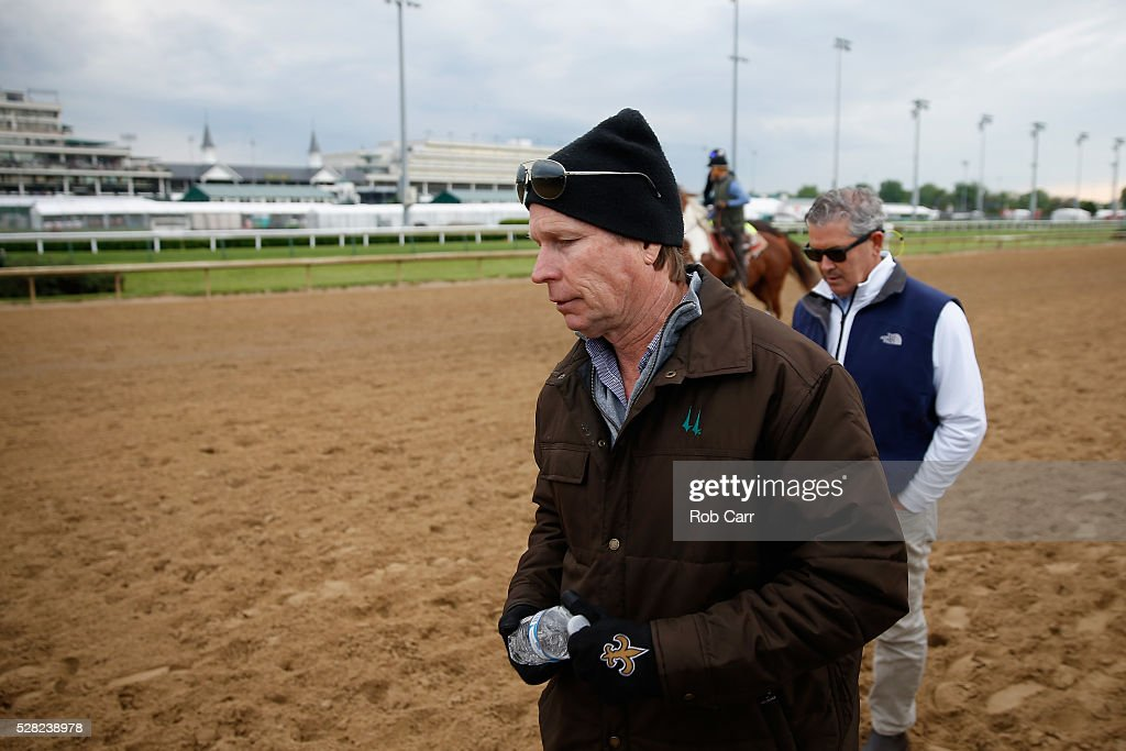 Trainer Dallas Stewart, trainer of Tom's Ready, walks on the track after watching the horse train for the Kentucky Derby at Churchill Downs on May 04, 2016 in Louisville, Kentucky.