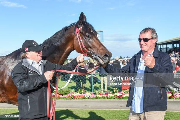 Trainer Darren Weir poses with High Church after winning the Sungold Milk Warrnambool Cup at Warrnambool Racecourse on May 04 2017 in Warrnambool...