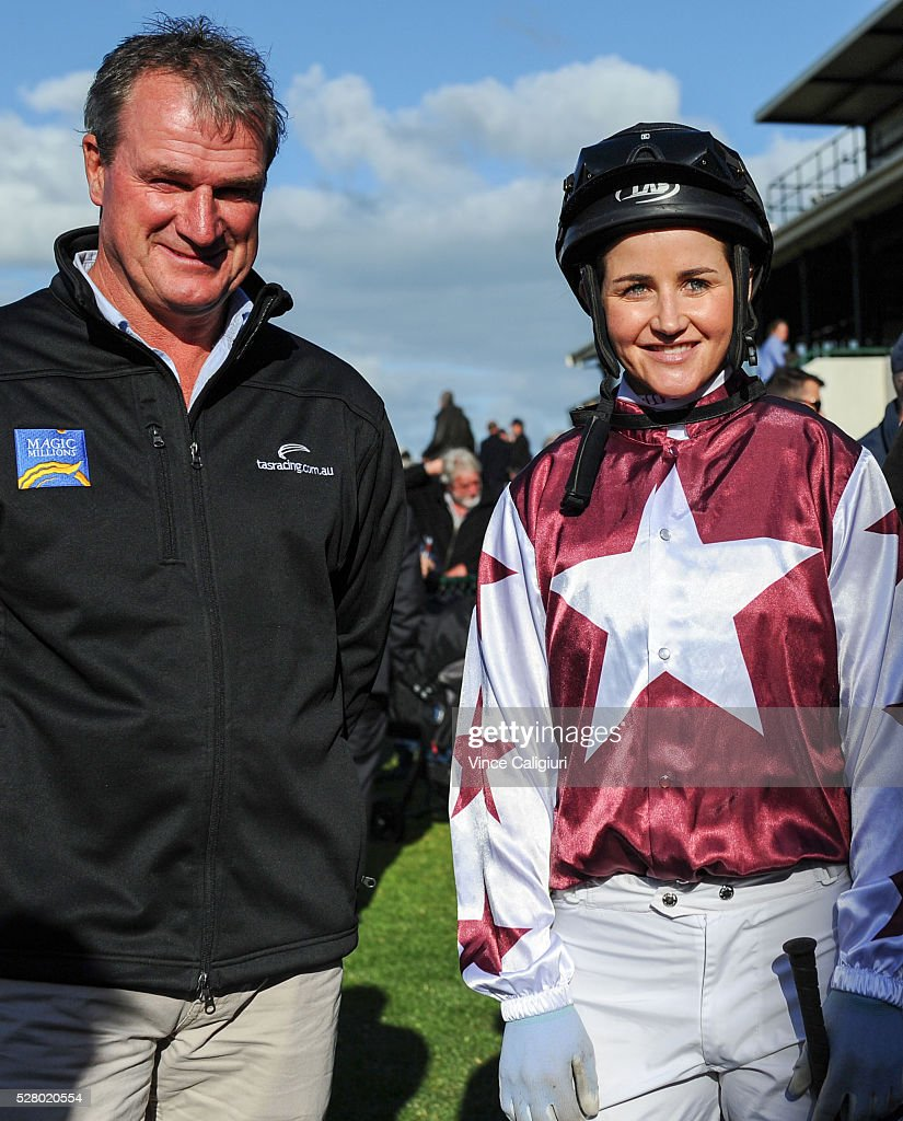 Trainer Darren Weir poses with <a gi-track='captionPersonalityLinkClicked' href=/galleries/search?phrase=Michelle+Payne&family=editorial&specificpeople=2296250 ng-click='$event.stopPropagation()'>Michelle Payne</a> before Race 8, the Wangoom Handicap during Brierly Day at Warrnambool Race Club on May 4, 2016 in Warrnambool, Australia.