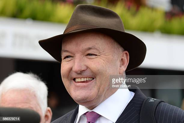 Trainer David Hayes after his horse Shaf won Jockey Celebration Day Handicap at Flemington Racecourse on August 06 2016 in Flemington Australia
