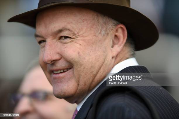 Trainer David Hayes after Sullivan Bay ridden by Cory Parish won the Legacy 2017 Badge Appeal Handicap at Caulfield Racecourse on August 19 2017 in...