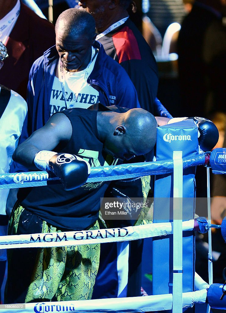 Trainer Floyd Mayweather Sr. (L) and Floyd Mayweather Jr. appear in their corner before taking on Robert Guerrero in a WBC welterweight title bout at the MGM Grand Garden Arena on May 4, 2013 in Las Vegas, Nevada. Mayweathr Jr. won by unanimous decision.
