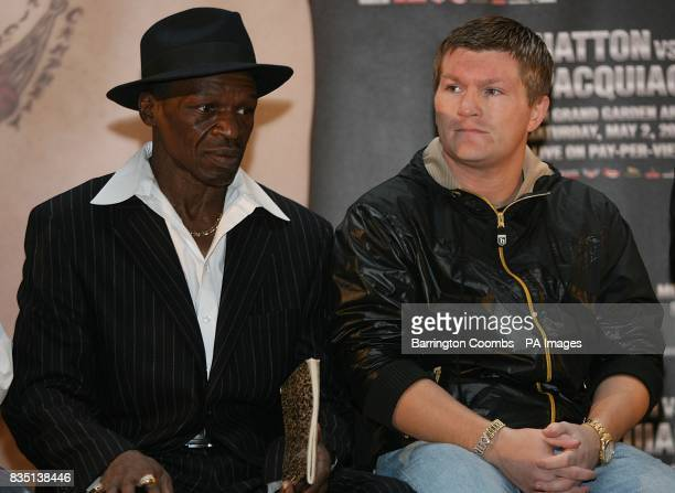 Trainer Floyd Mayweather Sr and Ricky Hatton during a promotional press event at the Trafford Centre Great Hall in Manchester