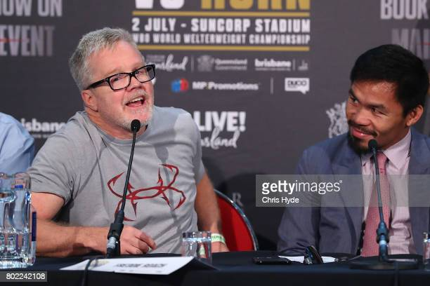Trainer Freddie Roach and Manny Pacquiao during the official Pacquiao Vs Horn press conference for WBO World Welterweight Championship at Suncorp...