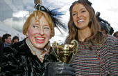 Trainer Gai Waterhouse and her daughter Kate Waterhouse celebrate with the Caulfield Cup after Descarado won race 8 the BMW Caulfield Cup during...