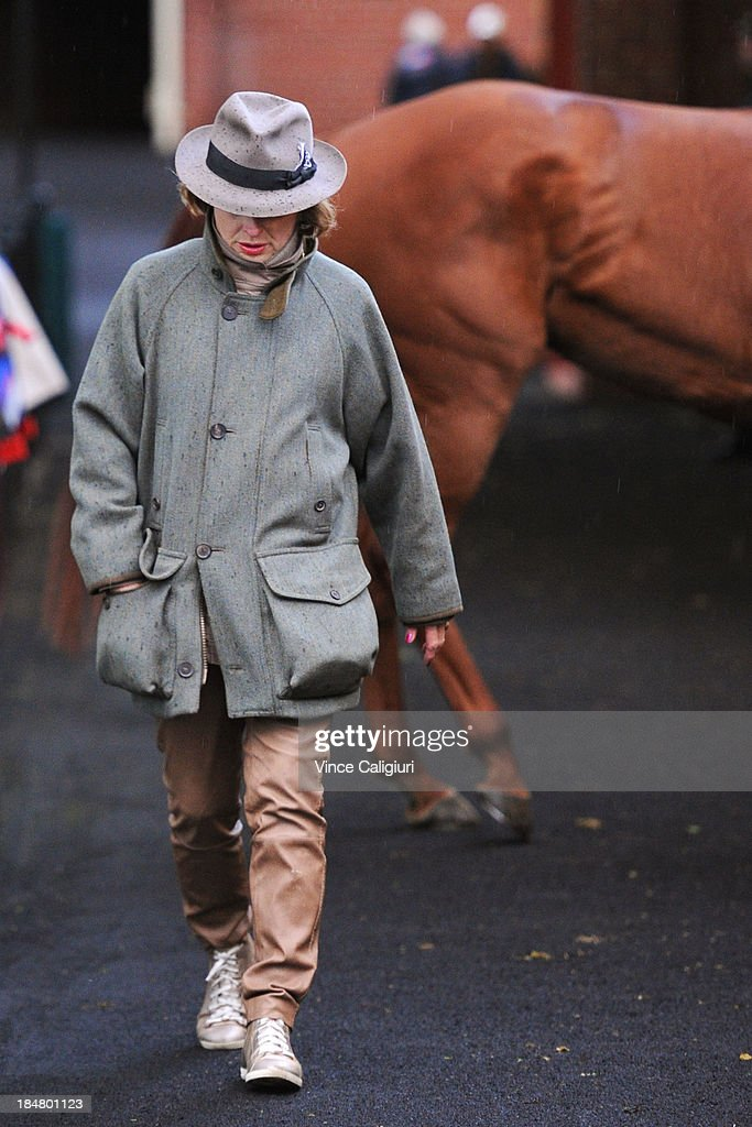 Trainer <a gi-track='captionPersonalityLinkClicked' href=/galleries/search?phrase=Gai+Waterhouse&family=editorial&specificpeople=239456 ng-click='$event.stopPropagation()'>Gai Waterhouse</a> checks her horses after a trackwork session at Moonee Valley Racecourse on October 17, 2013 in Melbourne, Australia.