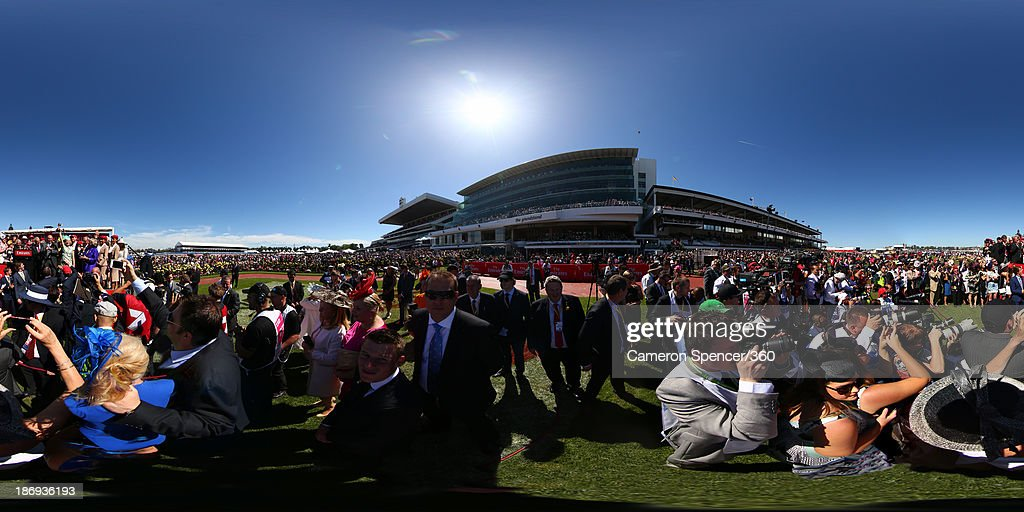 Trainer <a gi-track='captionPersonalityLinkClicked' href=/galleries/search?phrase=Gai+Waterhouse&family=editorial&specificpeople=239456 ng-click='$event.stopPropagation()'>Gai Waterhouse</a> holds up the Melbourne Cup after Fiorente won the Emirates Melbourne Cup during Melbourne Cup Day at Flemington Racecourse on November 5, 2013 in Melbourne, Australia.