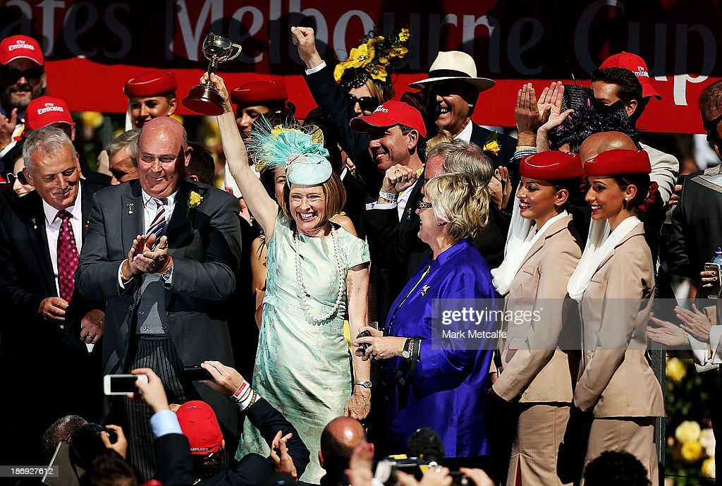 Trainer <a gi-track='captionPersonalityLinkClicked' href=/galleries/search?phrase=Gai+Waterhouse&family=editorial&specificpeople=239456 ng-click='$event.stopPropagation()'>Gai Waterhouse</a> holds up the Melbourne Cup after winning with Fiorente in race 7 The Emirates Melbourne Cup during Melbourne Cup Day at Flemington Racecourse on November 5, 2013 in Melbourne, Australia.