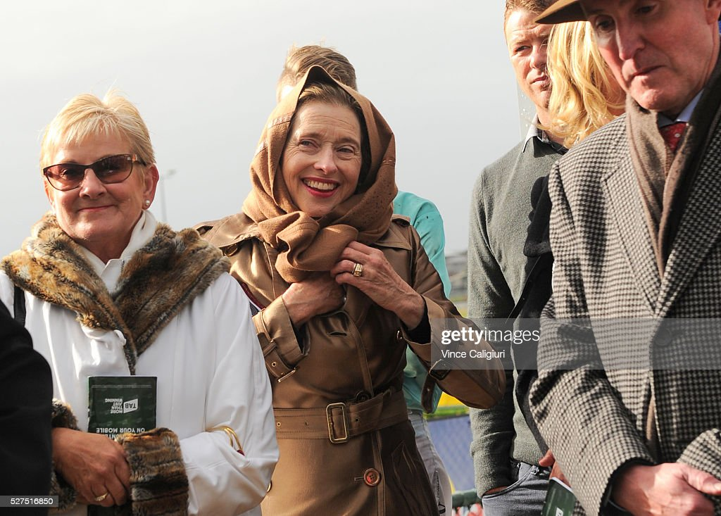 Trainer <a gi-track='captionPersonalityLinkClicked' href=/galleries/search?phrase=Gai+Waterhouse&family=editorial&specificpeople=239456 ng-click='$event.stopPropagation()'>Gai Waterhouse</a> is seen at the presentation after Valediction won Race 6, the Brierly Steeplechase during Brierly Day at Warrnambool Race Club on May 3, 2016 in Warrnambool, Australia.