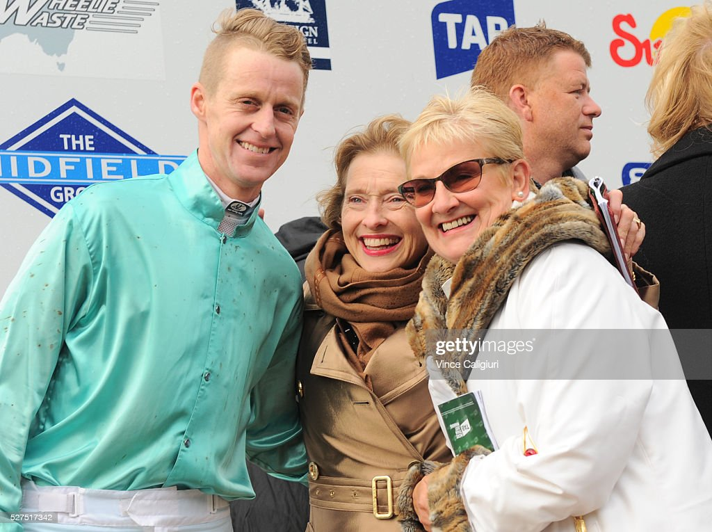 Trainer <a gi-track='captionPersonalityLinkClicked' href=/galleries/search?phrase=Gai+Waterhouse&family=editorial&specificpeople=239456 ng-click='$event.stopPropagation()'>Gai Waterhouse</a> poses with jockey Brad McLean after Valediction won Race 6, the Brierly Steeplechase during Brierly Day at Warrnambool Race Club on May 3, 2016 in Warrnambool, Australia.