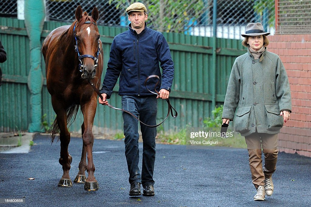 Trainer <a gi-track='captionPersonalityLinkClicked' href=/galleries/search?phrase=Gai+Waterhouse&family=editorial&specificpeople=239456 ng-click='$event.stopPropagation()'>Gai Waterhouse</a> walks with stable rider Edward Smyth-Osbourne and The Great Snowman after trackwork session at Moonee Valley Racecourse on October 17, 2013 in Melbourne, Australia.