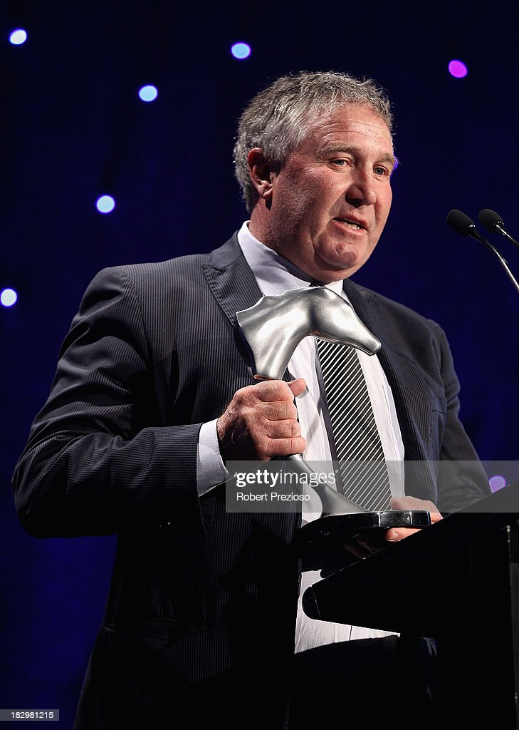 Trainer Gary Hennessy receives the award for Champion middle distance with racehorse Ocean Park during the Australian Racehorse of the Year Awards at Peninsula on October 3, 2013 in Melbourne, Australia.