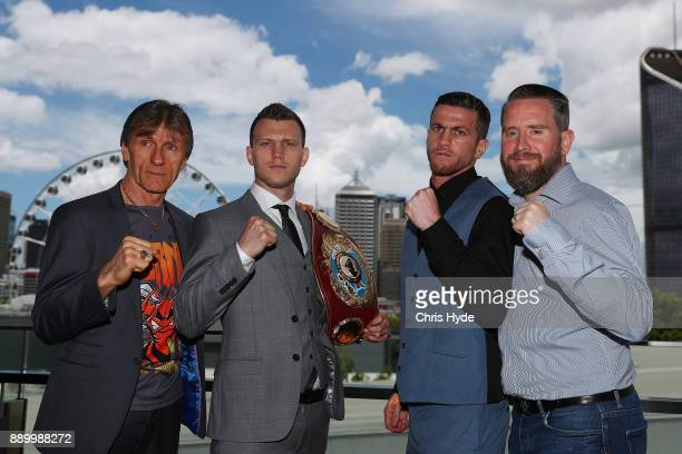 Trainer Glen Rushton and Jeff Horn pose with Gary Corcoran and trainer Frank Greaves ahead of their WBO World Welterweight Championship fight on...