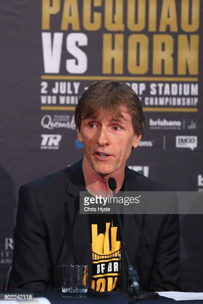 Trainer Glenn Rushton during the official Pacquiao Vs Horn press conference for WBO World Welterweight Championship at Suncorp Stadium on June 28...
