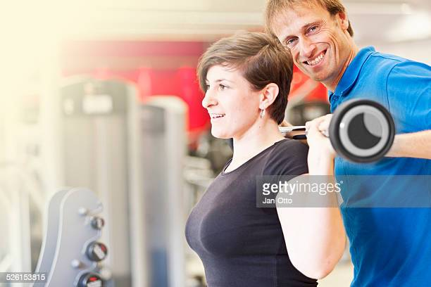 Trainer is happy with workout of his client