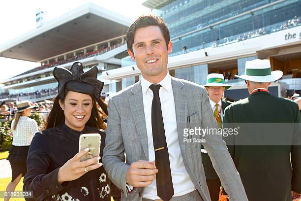 Trainer James Cummings and his wife Monica after Prized Icon wins AAMI Victoria Derby at Flemington Racecourse on October 29 2016 in Flemington...