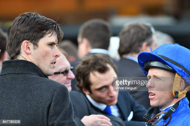 Trainer James Cummings chats with Kerrin McEvoy after Hartnell finishing 2nd in Race 7 PFD Food Services Makybe Diva Stakes during Melbourne Racing...