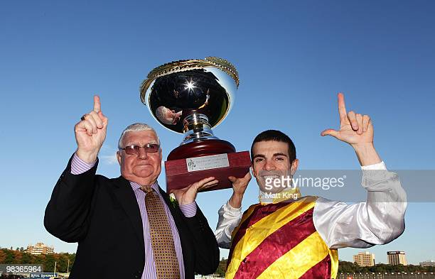 Trainer John Wallace and jockey Stathi Katsidis celebrate after riding Shoot Out to win race seven The David Jones AJC Australian Derby during 2010...