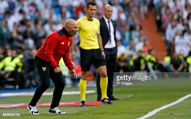 Trainer Jorge Sampaoli of Sevilla looks on during the La Liga match between Real Madrid CF and Sevilla CF at Estadio Santiago Bernabeu on May 14 2017...