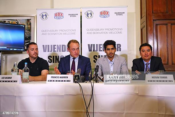 Trainer Lee Beard Pomotor Francis Warren Vijender Singh and promoter Neerav Tomar talk during a Press Conference at the Cinnamon Club on June 29 2015...