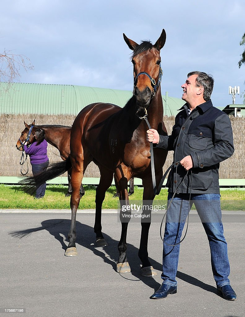 Trainer Mark Kavanagh poses for photo with Atlantic Jewel and Super Cool (behind) at todays announcement of 2013 Spring Carnival nominations at Flemington Racecourse on August 6, 2013 in Melbourne, Australia.