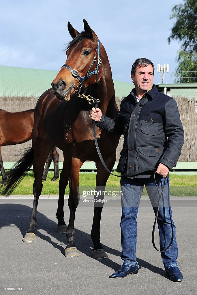 Trainer Mark Kavanagh poses for photo with Atlantic Jewel at todays announcement of 2013 Spring Carnival nominations at Flemington Racecourse on August 6, 2013 in Melbourne, Australia.