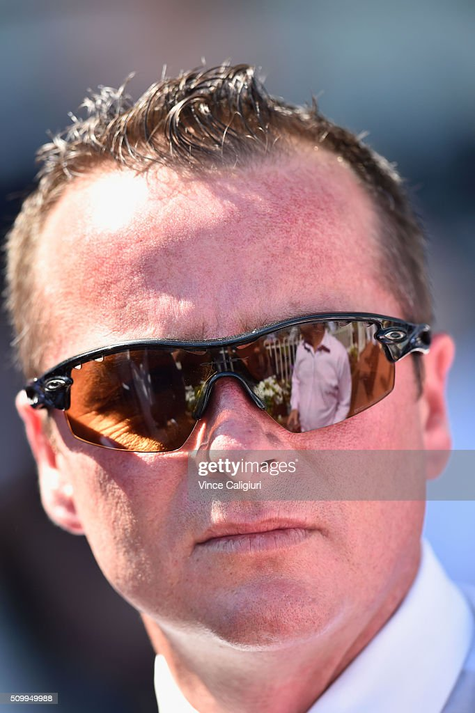 Trainer Matthew Ellerton after win of Heatherly in Race 5,the Rubiton Stakes during Melbourne Racing at Caulfield Racecourse on February 13, 2016 in Melbourne, Australia.