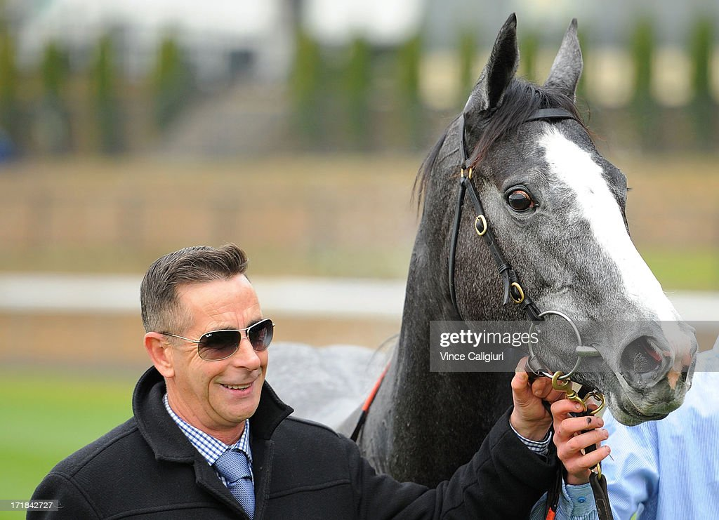 Trainer Michael Kent with Miss Steele after winning the Sportingbet Handicap during Melbourne Racing at Moonee Valley Racecourse on June 29, 2013 in Melbourne, Australia.