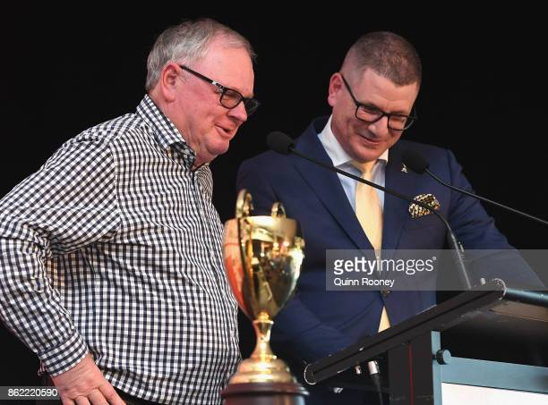 Trainer Murray Baker speaks during the Caulfield Cup Barrier Draw at Caulfield Racecourse on October 17 2017 in Melbourne Australia