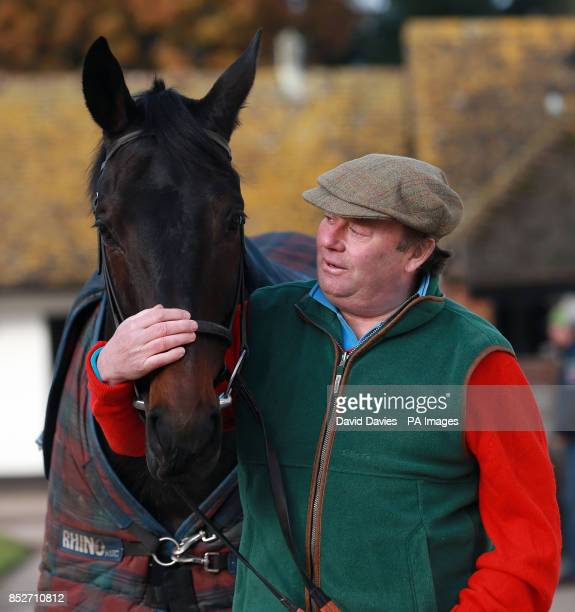 Trainer Nicky Henderson during a stable visit at Seven Barrows Lambourn