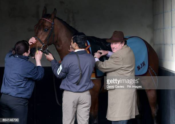 Trainer Nicky Henderson prepares All The Aces for the Ladbrokes Supporting Greatwood Handicap Hurdle race during the Greatwood Charity Raceday at...