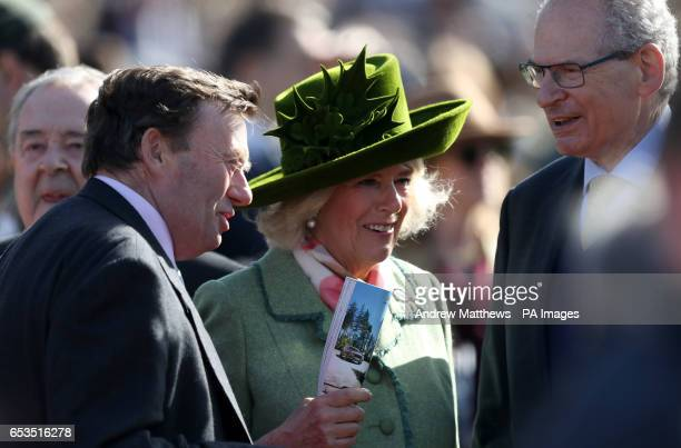 Trainer Nicky Henderson speaks with Camilla The Duchess Of Cornwall and Robert WaleyCohen during Ladies Day of the 2017 Cheltenham Festival at...