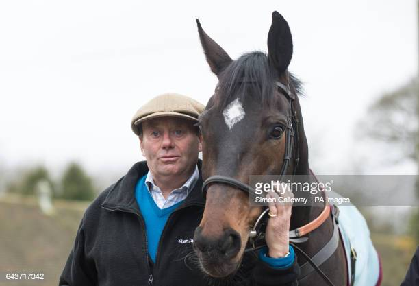 Trainer Nicky Henderson with Altior ahead of the Cheltenham Festival in March during a stable visit to Nicky Henderson's Seven Barrows Stables in...
