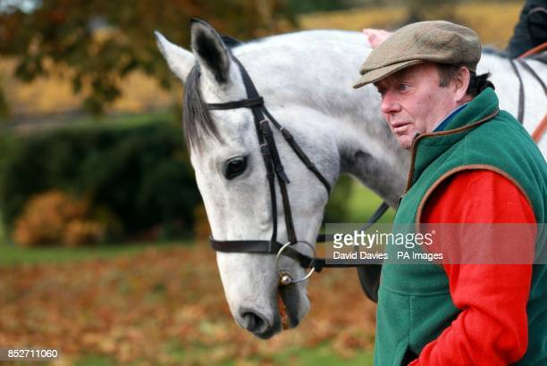 Trainer Nicky Henderson with Simonsig during a stable visit at Seven Barrows Lambourn
